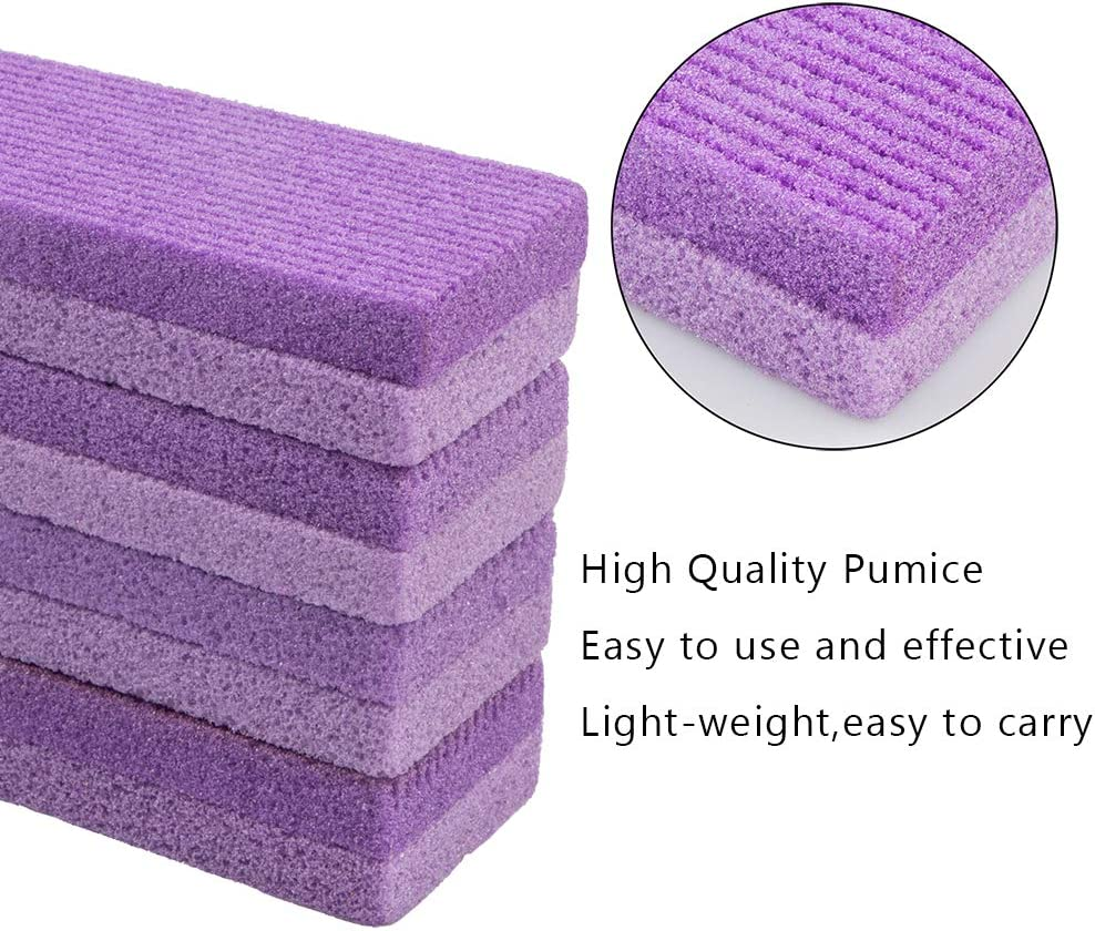 4 Pack Foot Pumice Stone,Sonku Exfoliator Pedicure File Block Callus Remover Scrubber with 1 Pcs Stainless Steel Foot Rasp and 5 Pcs Nail Files 100/180 Grit-Purple: Health & Personal Care