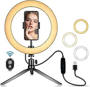 Anel de selfie de LED de 10, 2 polegadas com suporte de