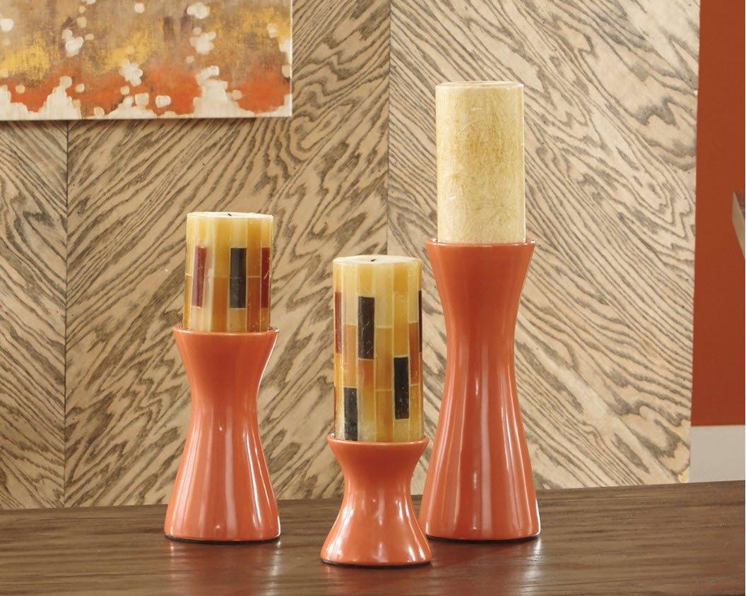 Ashley Furniture Signature Design - Cais Ceramic Candle Holder Set - 3 Pieces - Assorted Sizes - Contemporary - Orange by Signature Design by Ashley (Image #2)