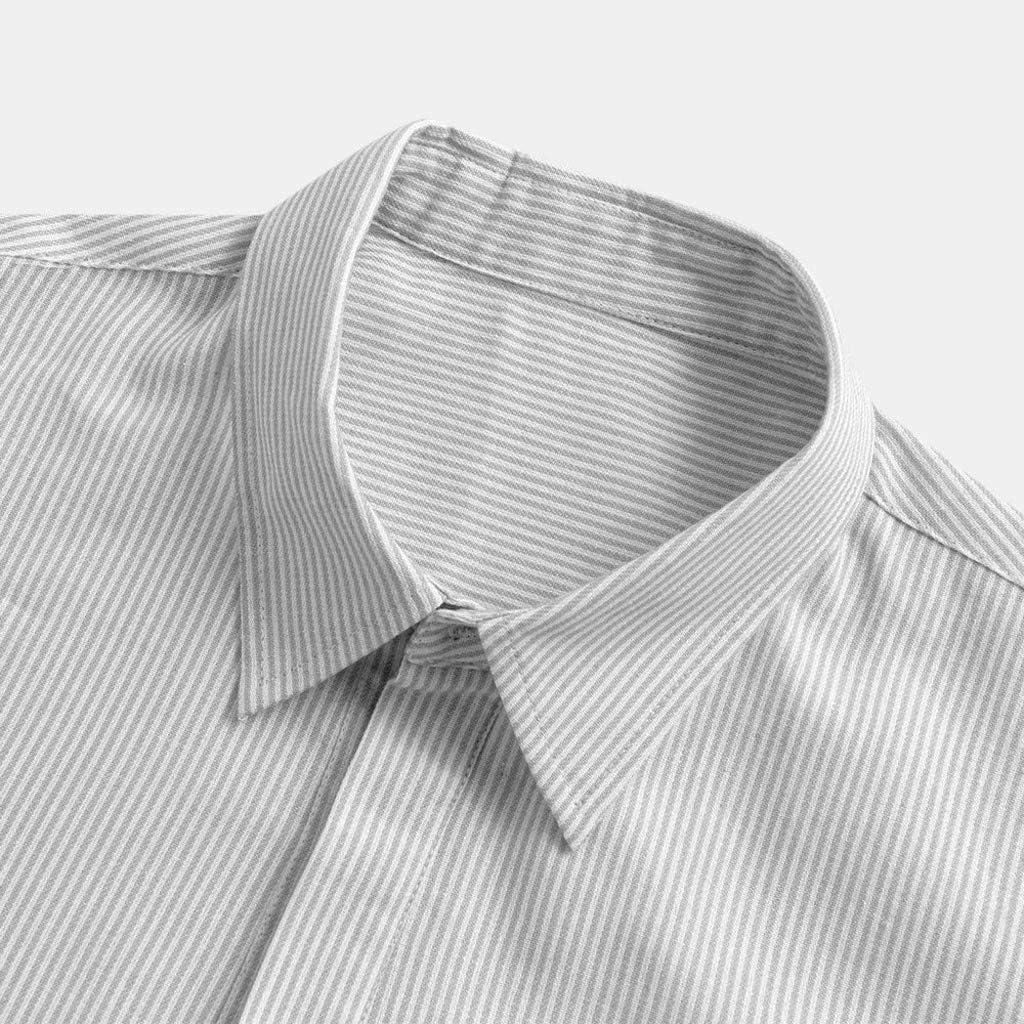 Stripe T Shirts for Mens Summer Cotton Linen Slim Long Sleeve Button Plus Size Tee Tops Blouse