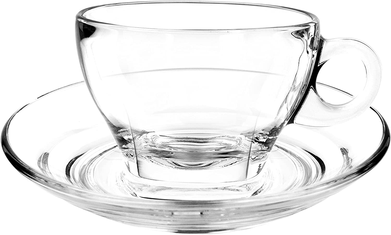 Cuisivin Caffé Collection Latte 9 oz Cup and Saucer-gift box set (2 cups + 2 saucers) Drinkware Cups With Saucers, Clear