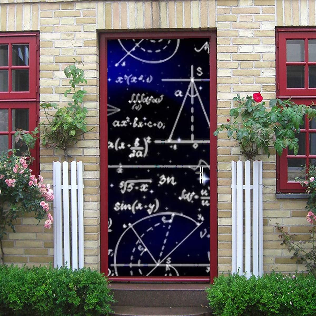 Etiqueta engomada de la puerta del arte moderno 3d, fórmulas sin fin de patrones matemáticos sin fin de vectores Pelar y pegar etiqueta de la puerta de vinilo extraíble para la decoración del hogar,