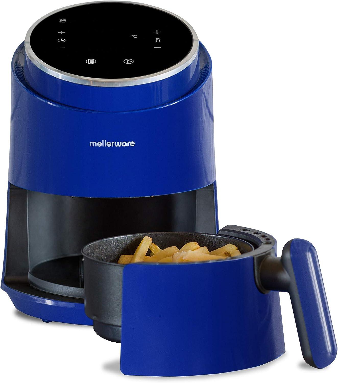 Mellerware Freidora de Aire Crunchy! Freidora sin Aceite. 7 programas predefinidos. cocción 80-200 Grados. Diseño Compacto. 1,4 litros Capacidad. (Blue)