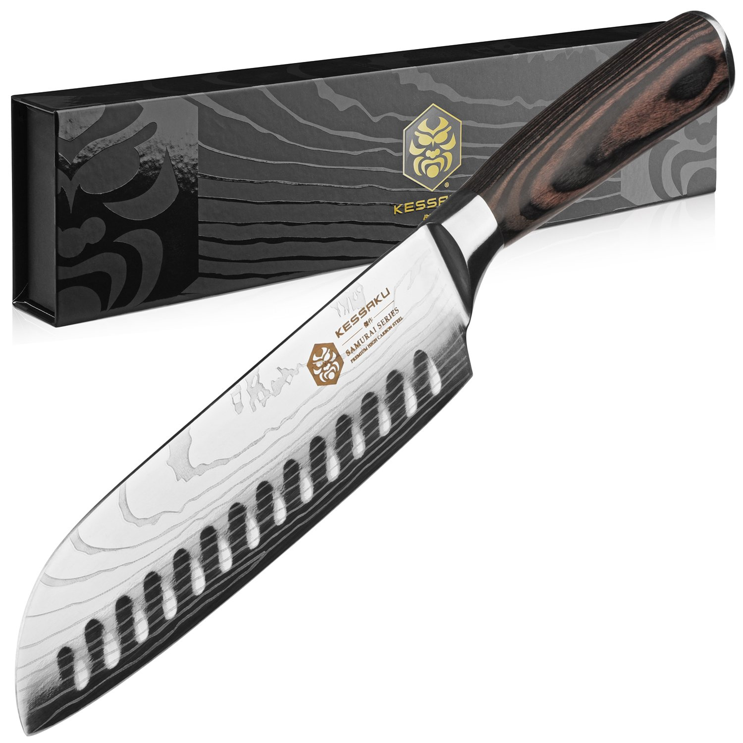 Kessaku Santoku Knife - Samurai Series - Japanese Etched High Carbon Steel, 7-Inch