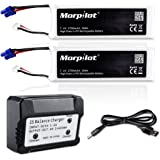 Morpilot For Hubsan x4 Pro H501S Pro H501A H501C 2S 2700mAh 7.4V 10C 20Wh RC Drone LiPo Battery with 2-port Charger High Performance with Charging Protection Genuine Parts Guarrantee Extra Flight Time
