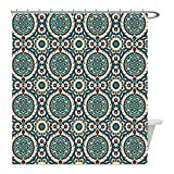 Liguo88 Custom Waterproof Bathroom Shower Curtain Polyester Arabian Decor Mod Graphic Design of Classic Ancient Eastern Islamic Art Patterns in Retro Nostalgic Colors Decor Multi Decorative bathroo