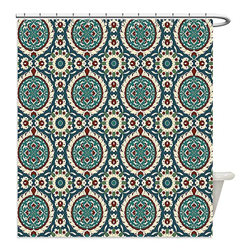 Liguo88 Custom Waterproof Bathroom Shower Curtain Polyester Arabian Decor Mod Graphic Design of Classic Ancient Eastern Islamic Art Patterns in Retro Nostalgic Colors Decor Multi Decorative bathroo by liguo88
