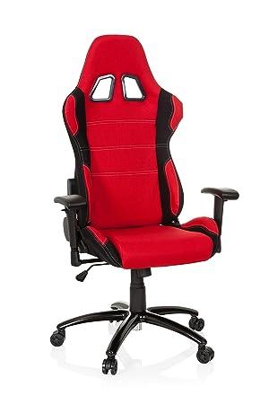 hjh OFFICE 729320 silla gaming GAME FORCE tejido negro / rojo silla ...