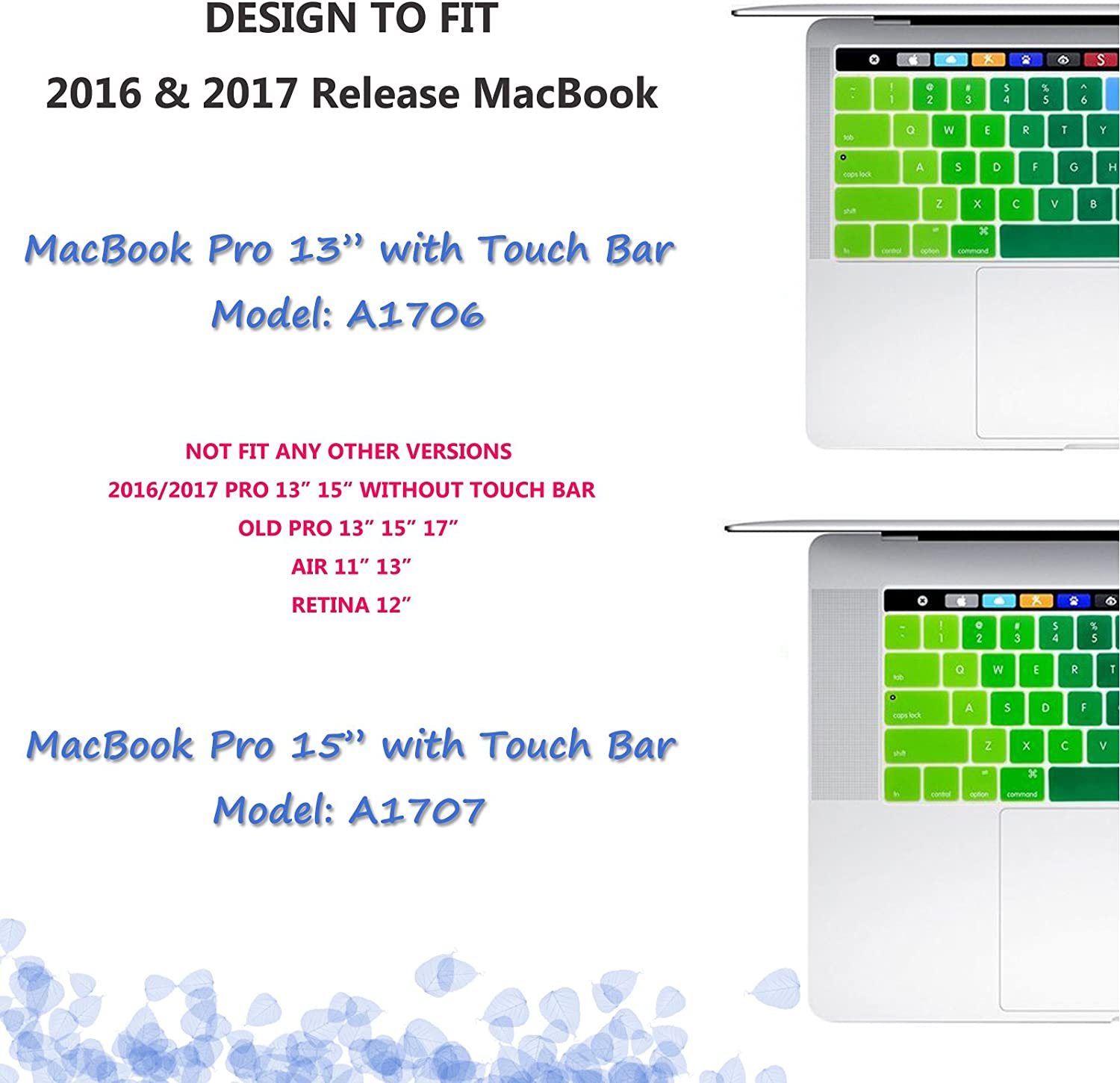 YMIX MacBook Keyboard Cover for Touch Bar Models 2017 /& 2016 Release MacBook Pro 13 Rainbow /& MacBook Pro 15 A1706 with Touch ID Dust Proof Silicone Keyboard Skin A1707
