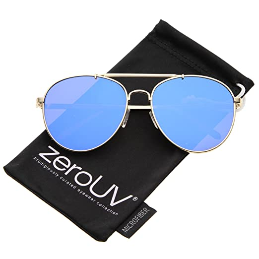 d18f082e0ded Large Metal Teardrop Double Bridge Mirrored Flat Lens Aviator Sunglasses  60mm (Gold Blue Mirror