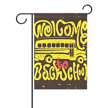 Duble Sided Welcome Back To School Hand Draw Vintage Bus Lettering