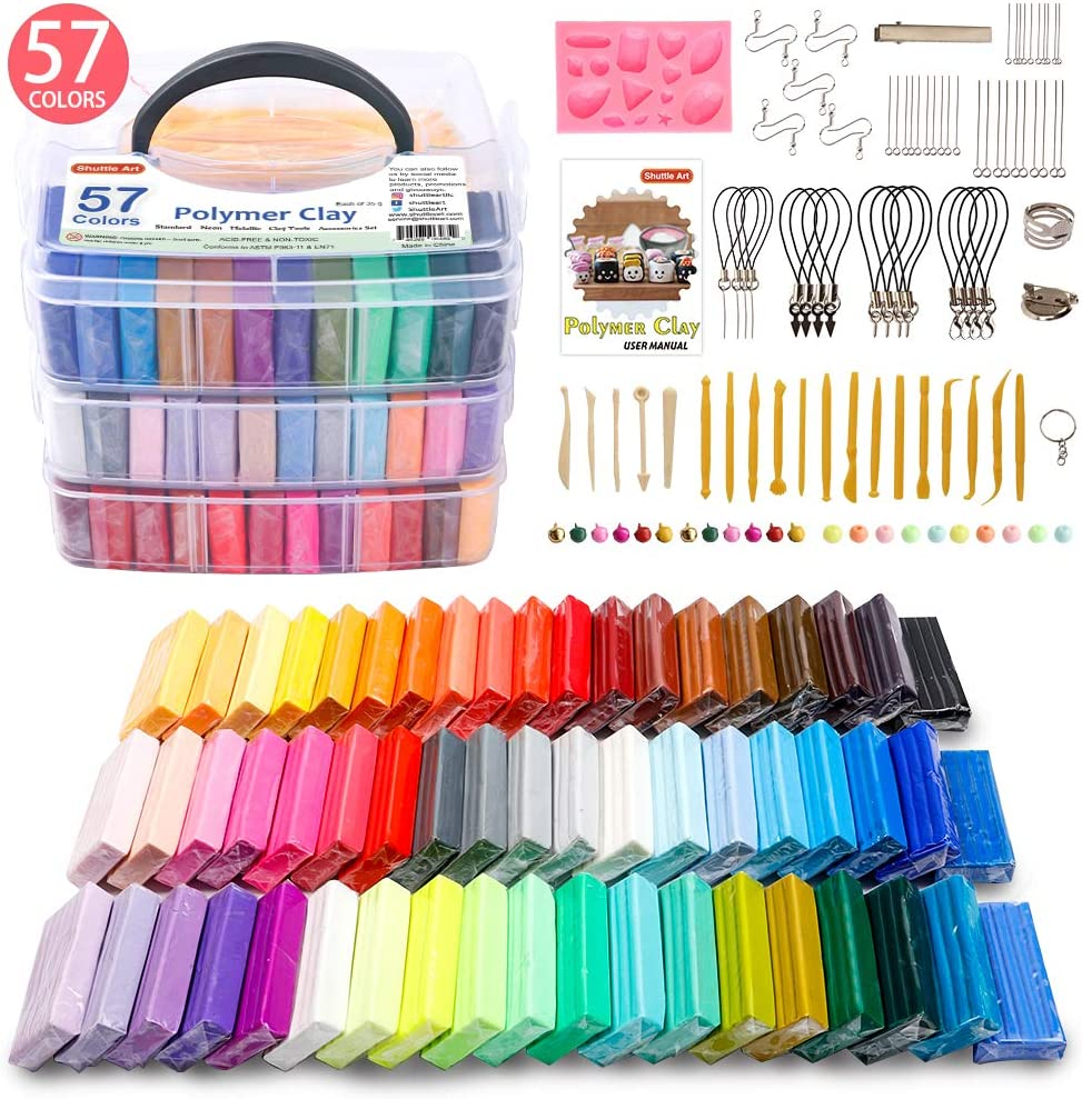 Polymer Clay, 57 Colors Shuttle Art 1.2 oz/Block Oven Bake Modeling Clay Kit with 19 Sculpting Clay Tools and Accessories, Non-Stick, Non-Toxic, Ideal DIY Gifts for Kids