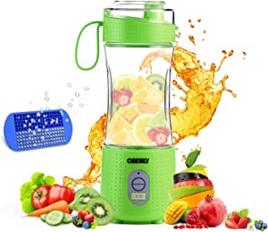 Portable Blender 2, OBERLY Upgraded Personal Juicer Cup for Shakes and Smoothies - Six Blades in 3D, 13oz Fruit Mixing Machine with 4000mAh USB Rechargeable Batteries, Ice Tray, Detachable Cup, Perfect Blender for Travel, Outdoor