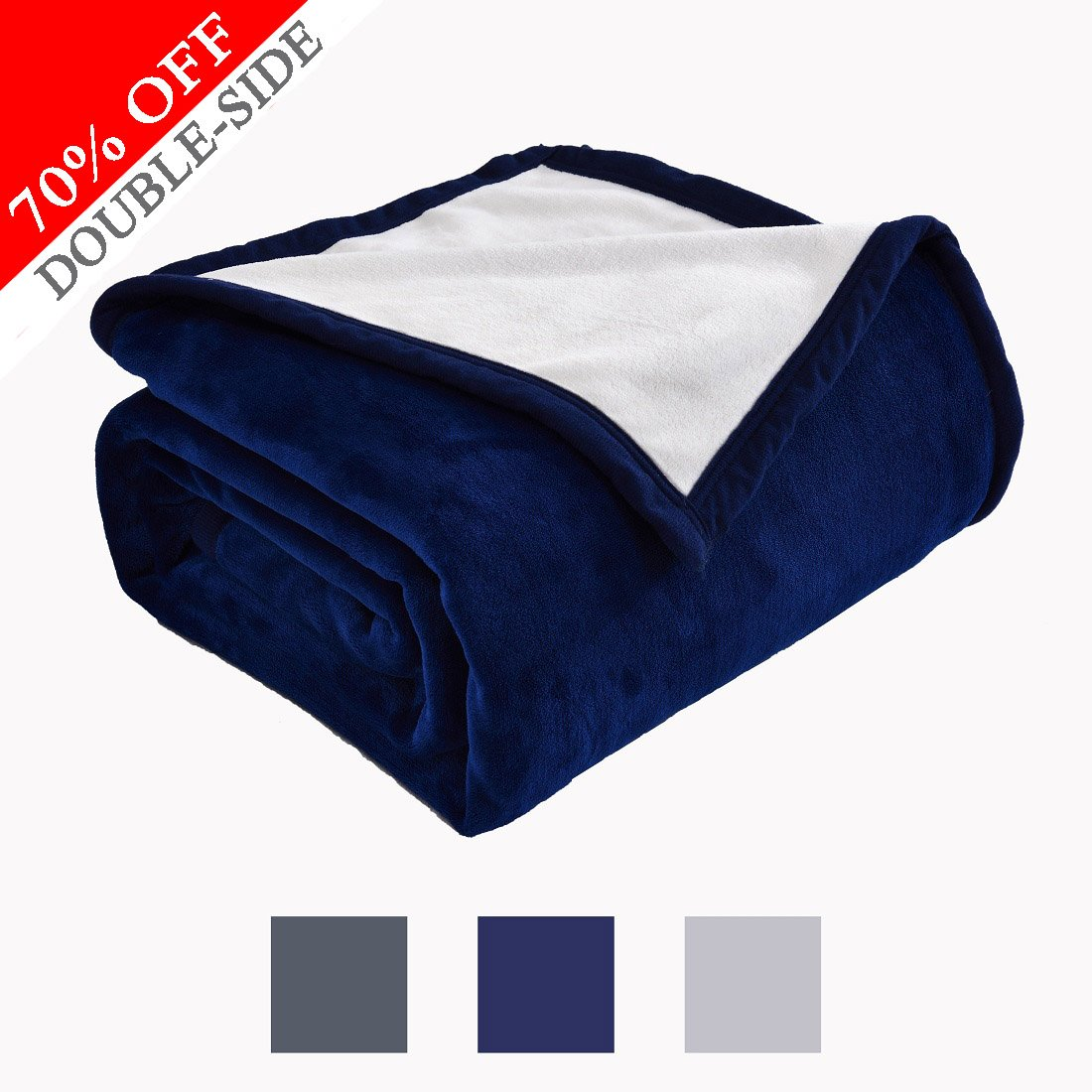 Fleece Blanket 460 GSM Anti-static Double-sides Reversible Super Soft Warm Fuzzy Bed Blanket by Dream Fly Life Queen,Dark Blue & Ivory