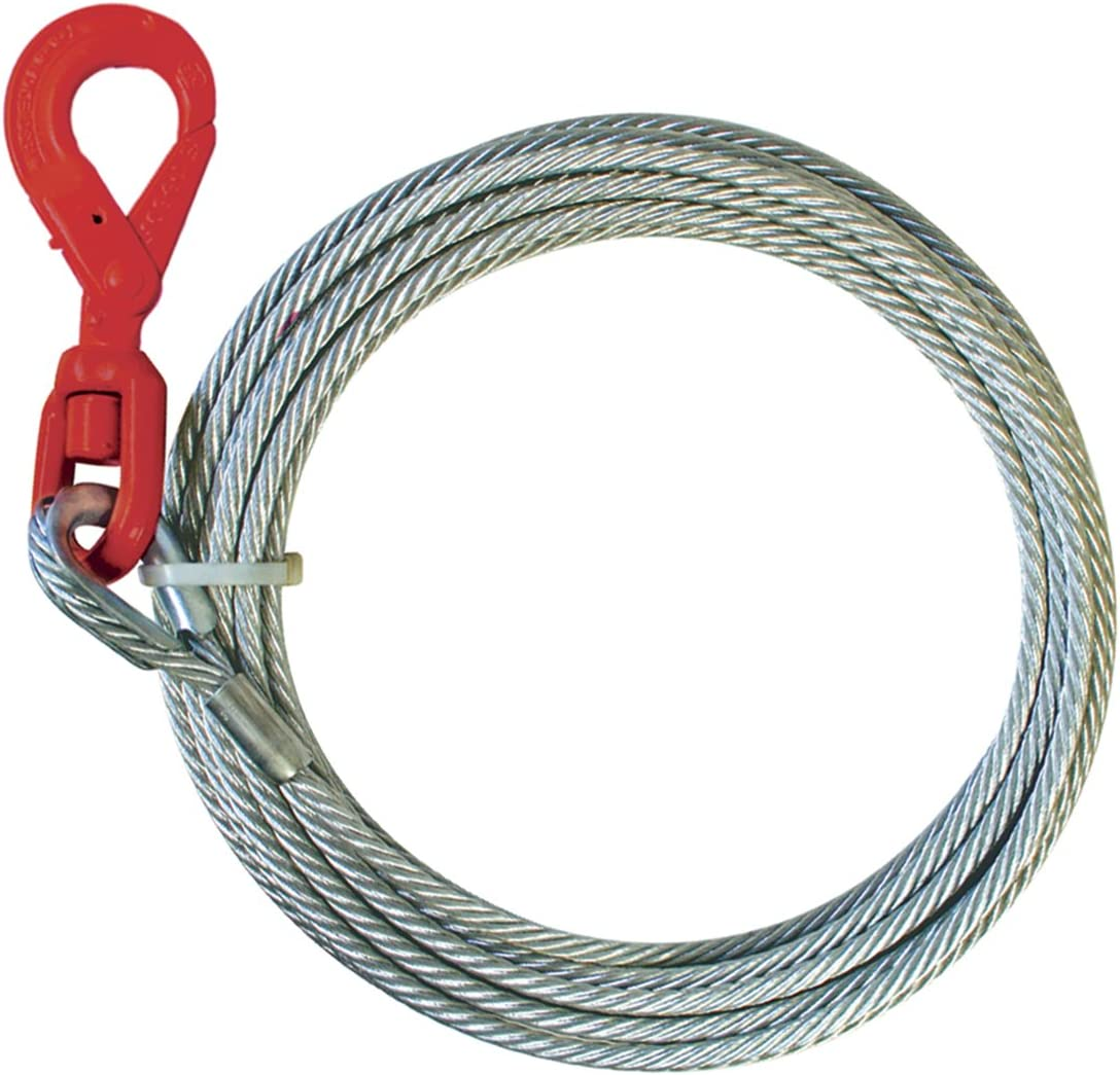 3//8 x 150 15,100 lbs VULCAN Classic Galvanized Steel Core Winch Cable with Self-Locking Swivel Hook Minimum Breaking Strength
