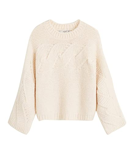 timeless design wide varieties release date MANGO Women's Contrasting Knit Sweater 43011013 White: Amazon.co ...