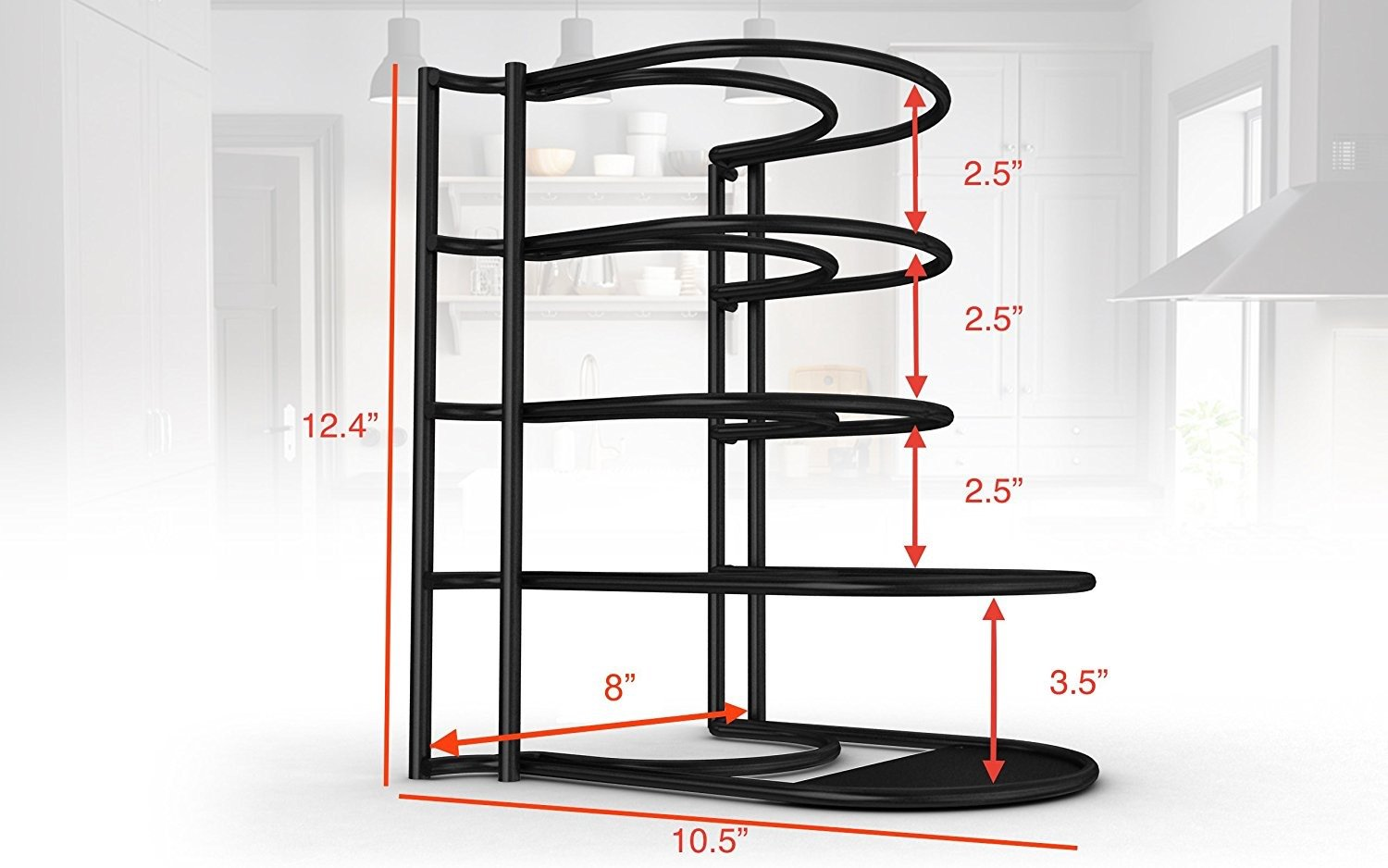 Extreme Matters Heavy Duty Pan Organizer - Bottom Tier 1 Inch Taller for Larger Pans - No Assembly Required - Black by Extreme Matters (Image #3)
