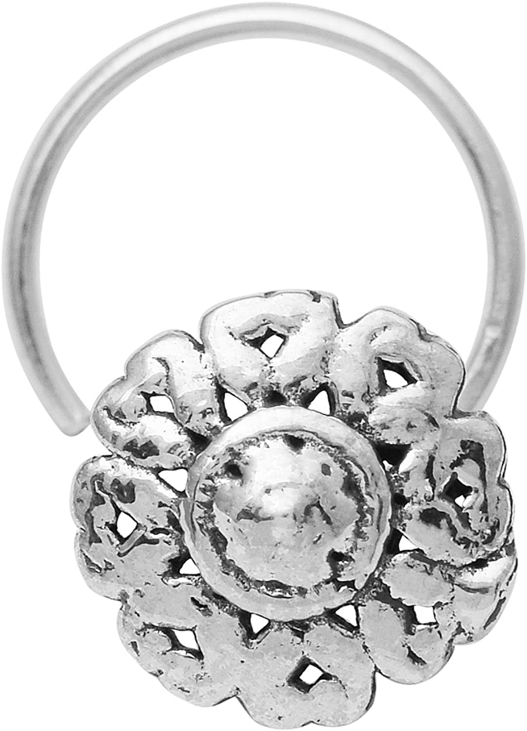 Shine Jewel Solid 925 Sterling Silver Oxidized Nose Pin For Women Flower Design