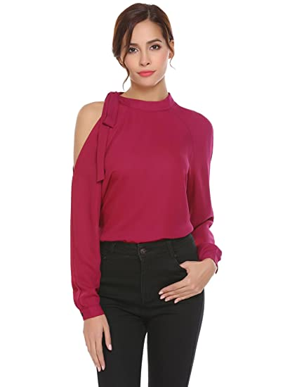 111cae1cb3a76 Grabsa Women s Casual Mock Neck Office Chiffon Blouse Cold Shoulder Long  Sleeve Tops