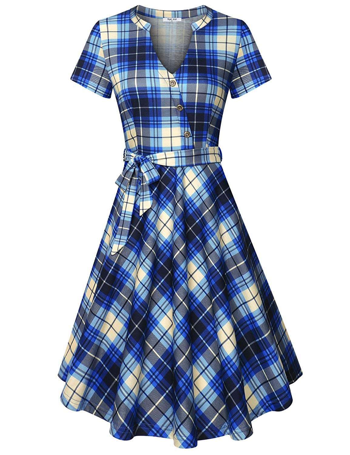 bluee Diphi LiLi Women's V Neck Long Short Sleeve Button Decoration Plaid Swing Dress