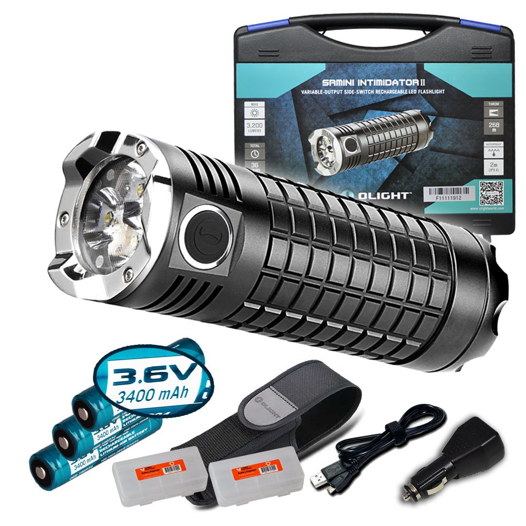 Olight SRMini SR Mini Intimidator II 3200 Lumens Rechargeable Flashlight Kit w/ 3x 3400mAh 18650 Batteries, Olight USB Charging Cable, Car Power Adapter, Holster and Two Lumentac Battery Organizer by Olight