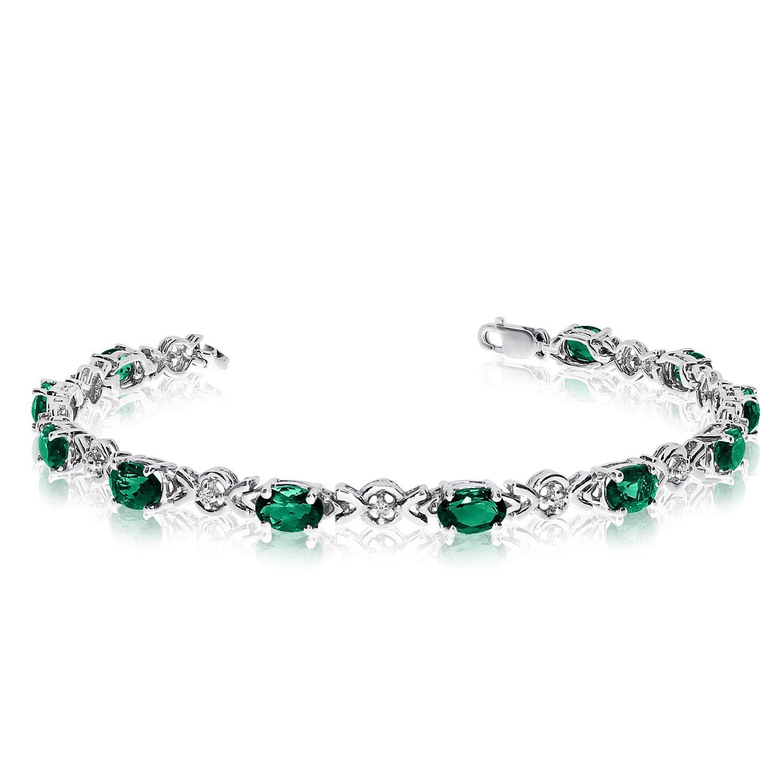 10K White Gold Oval Emerald and Diamond Bracelet (6 Inch Length)