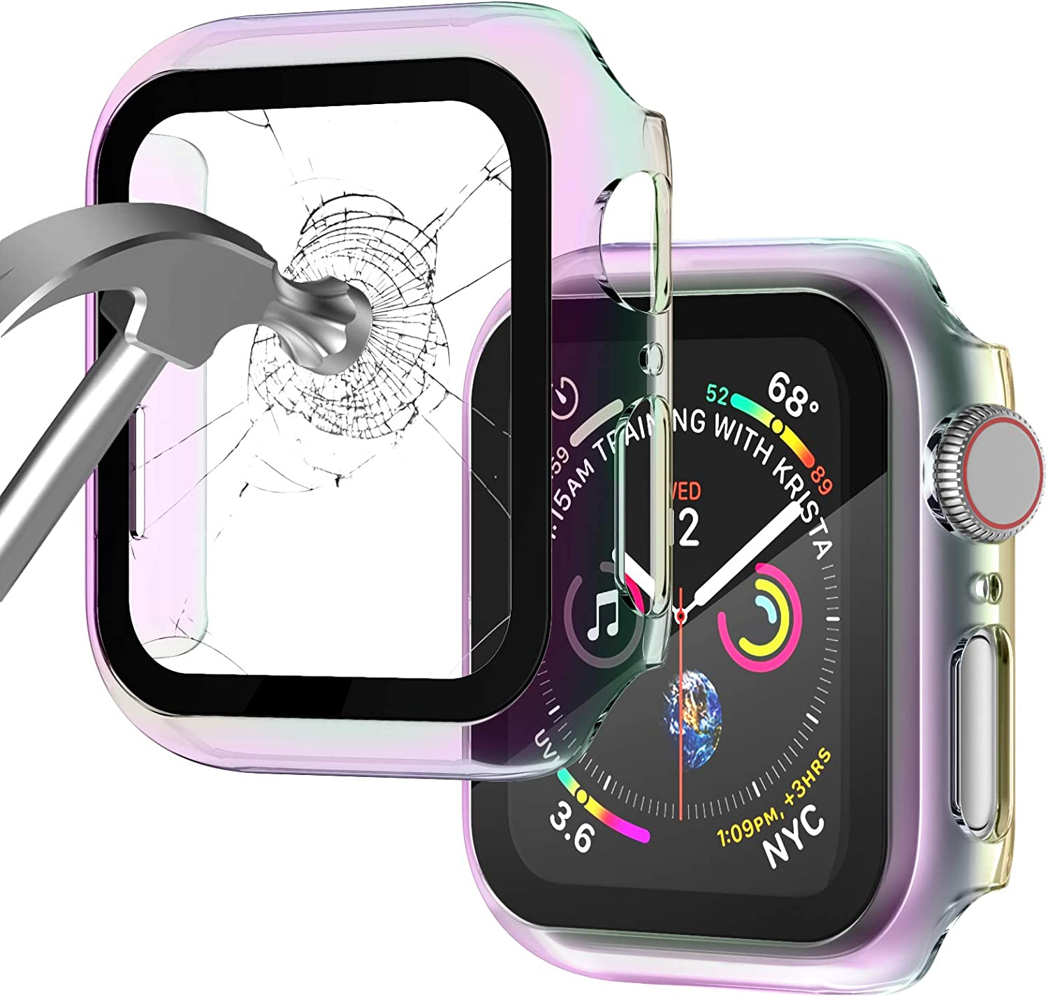 Apple Watch Case for Apple Watch 42MM Series 3/2/1/ with Built-in Tempered Glass Screen Protector, All-Around Ultra-Thin Bumper Full Cover Hard PC Protective Case for iWatch
