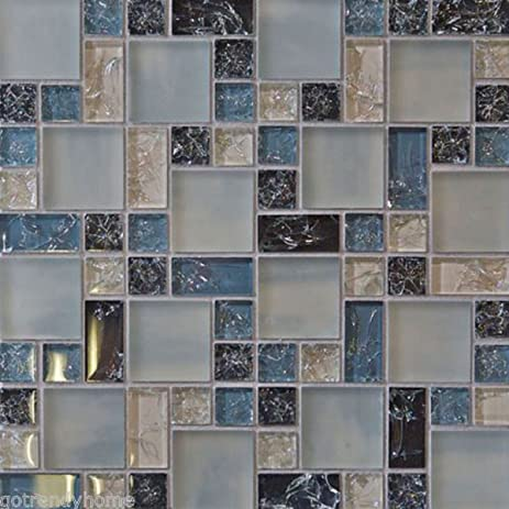 Delicieux USA Premium Store Blue Crackle Glass Mosaic Tile Backsplash Kitchen Wall  Bathroom Shower