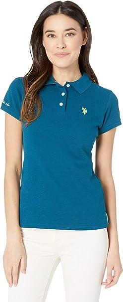 db0aec11 U.S. Polo Assn. Women's Neon Logo Polo Shirt Dream Teal X-Small at ...