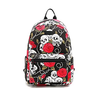 "Fvstar 14"" Girls Backpack Canvas Teens Travel Rucksack Casual Laptop Backpack Cute Bookbag Daypack Padded Back Shoulder Staps Bag with Multi-Pockets, Skull 