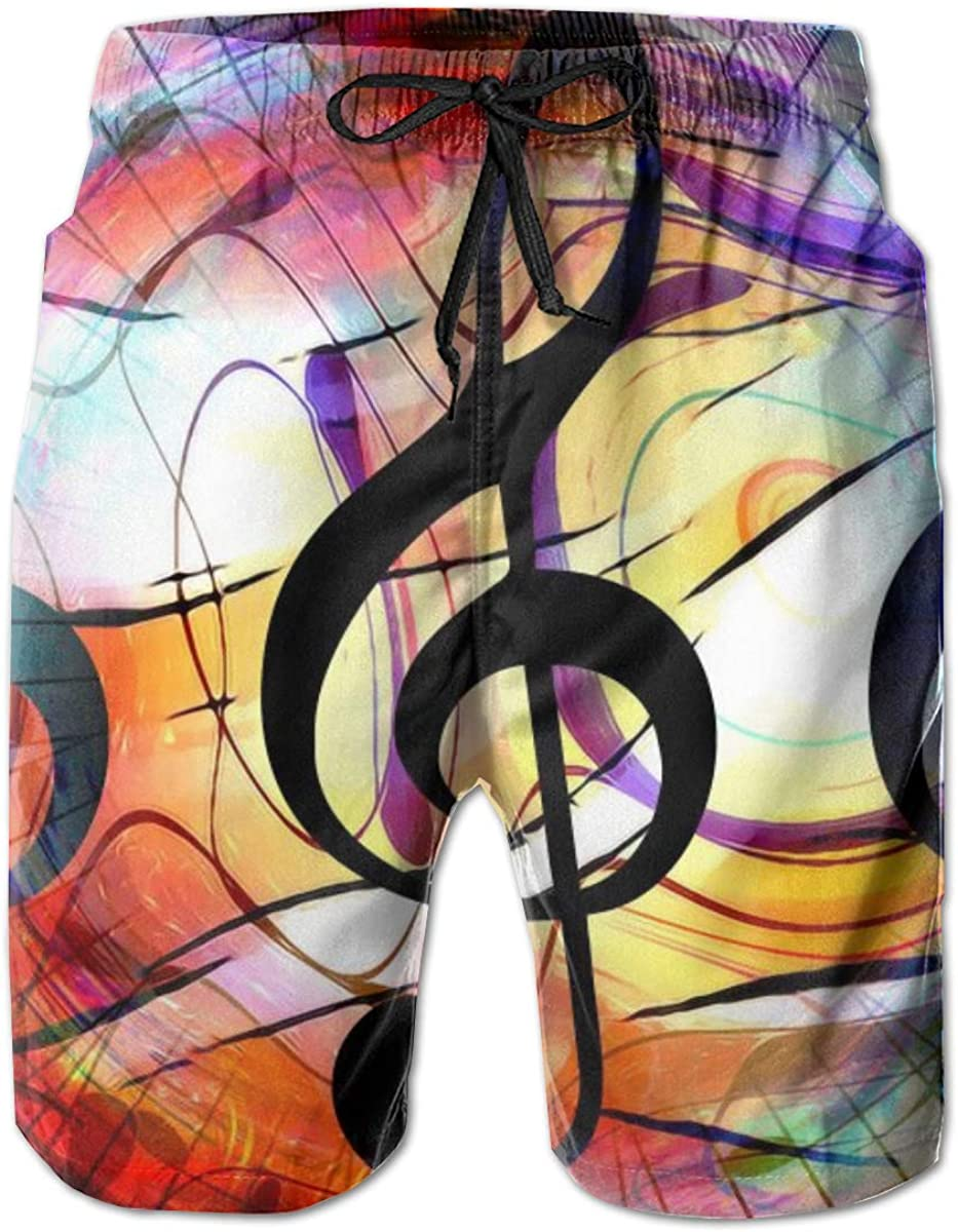 Mens Swim Trunks with Mesh Lining Pockets Music Clef in Space with Stars Boys Polyester Board Shorts Swimwear