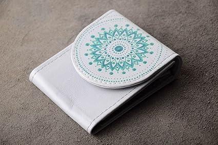 Cartera de piel artesanal blanca elegante billetera de mujer accesorio de moda