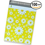 100 Pack of Mighty Gadget (R) Yellow Daisy Designer Poly Mailers - 10x13 inch Shipping Envelopes with 2.35 mil Thickness