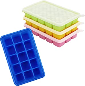 Kurtzy Ice Cube Trays with Clear Lids (4 Pack) - Flexible Silicone Covered Ice Cube Moulds for 60 Ice Cubes - Stackable Trays and Easy Release Mould for Baby Food, Water, Whiskey, Cocktails - BPA Free