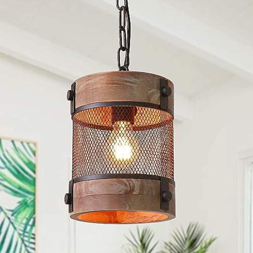Anmytek Metal and Wood Chandelier Round Iron Net Pendant Light Retro Rustic Loft Antique Lamp Edison Vintage Decorative Light Fixtures and Ceiling Light Luminaire