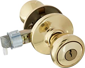 Kwikset 94002-825 Mobile Home Entry Lockset, Polished Brass