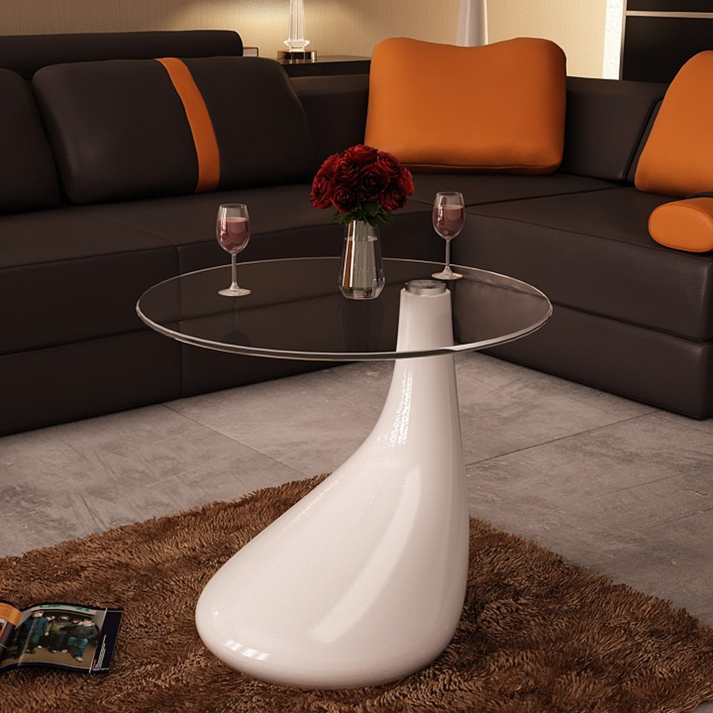 Festnight Round Shape Coffee Table Clear with Glass Top and Teardrop Stand End Side Table Living Room Home Office Furniture (White)