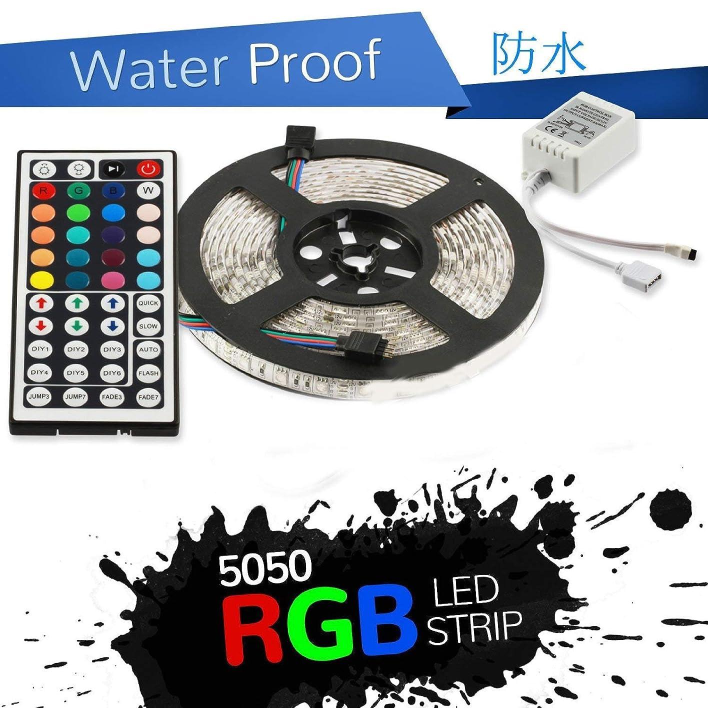トマトフィクション相対サイズDC12V LEDテープライト フルカラーRGB 防水 5M SMD5050 300連 黒ベース 切断可能 リモコン付
