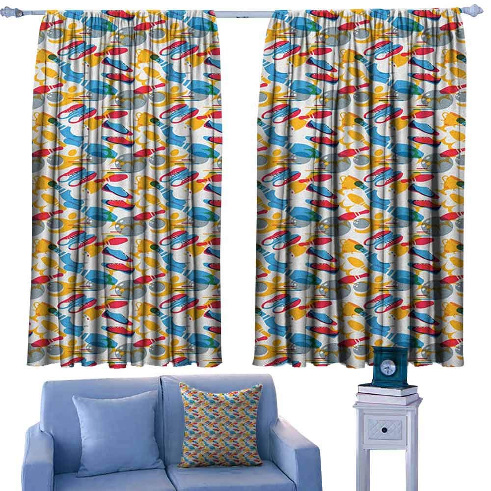 ParadiseDecor Bowling Backout Boy Curtains Tournament Championship Theme with Shoes Trophy and Icons Pattern Abstract Design,Room Darkening Printed Patterns Curtains,W72 x L84 Inch