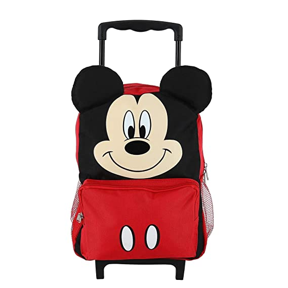 Disney Kids  14 Inch Big Face Mickey Mouse Rolling Backpack, Red ... d95f66af6f