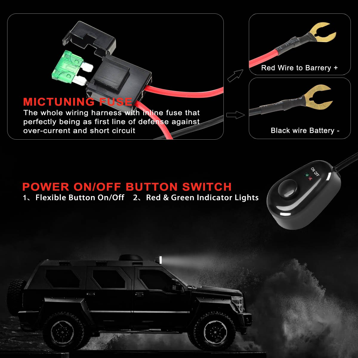Kawell Wiring Harness Kit With Fuse 40 Amp Power Relay On Off Light Switch A First For Offroad Driving Led Work Fog Lights 2 Lead 65ft Car