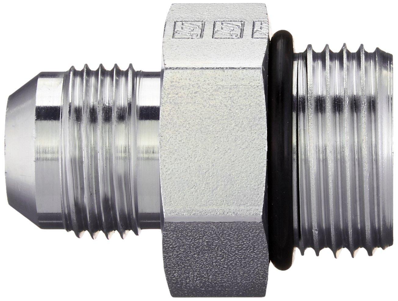 3//4 Tube OD JIC Male x 1-1//16-12 Male Straight Thread O-Ring Boss Straight Brennan 6400-12-12-O Steel JIC Flared Tube Fitting