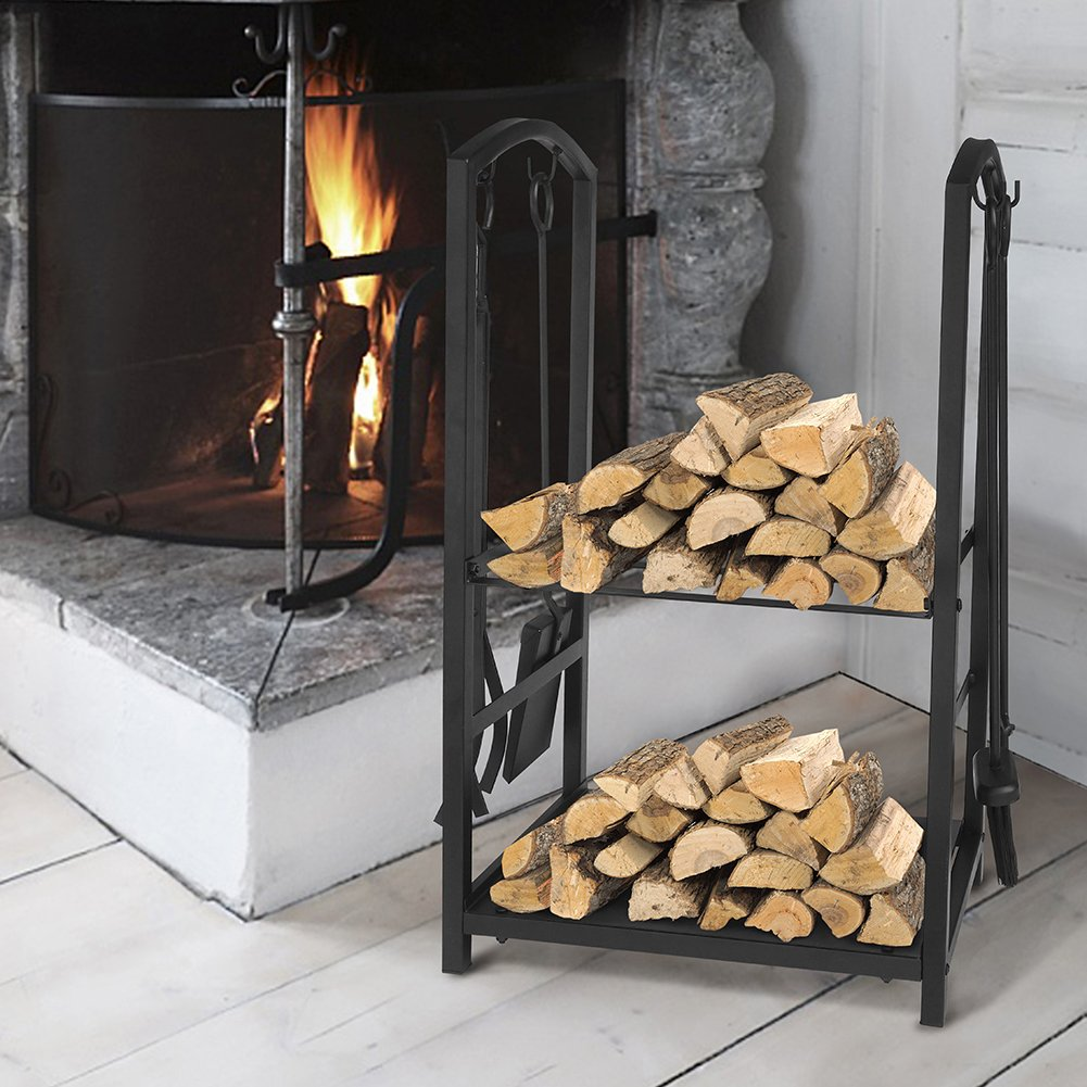 31.5 x 14 x 14 31.5/'/' x 14/'/' x 14/'/' Firewood Mover with 3 Fireplace Tool Set Fireplace Log Carriers Holders Black Wrought Iron Firepit Firewood Cart ART TO REAL Firewood Rack Log Cart with Large Wheels