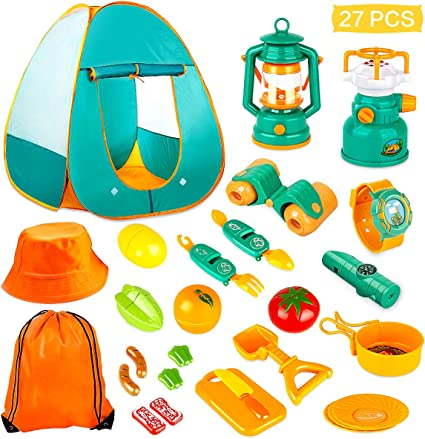 Amazon.com: KAQINU 27 PCS Kids Camping Set, Pop Up Play Tent with Kids Camping Gear Toys, Indoor and Outdoor Camping Tools Pretend Play Set for Toddler Boys & Girls: Toys & Games