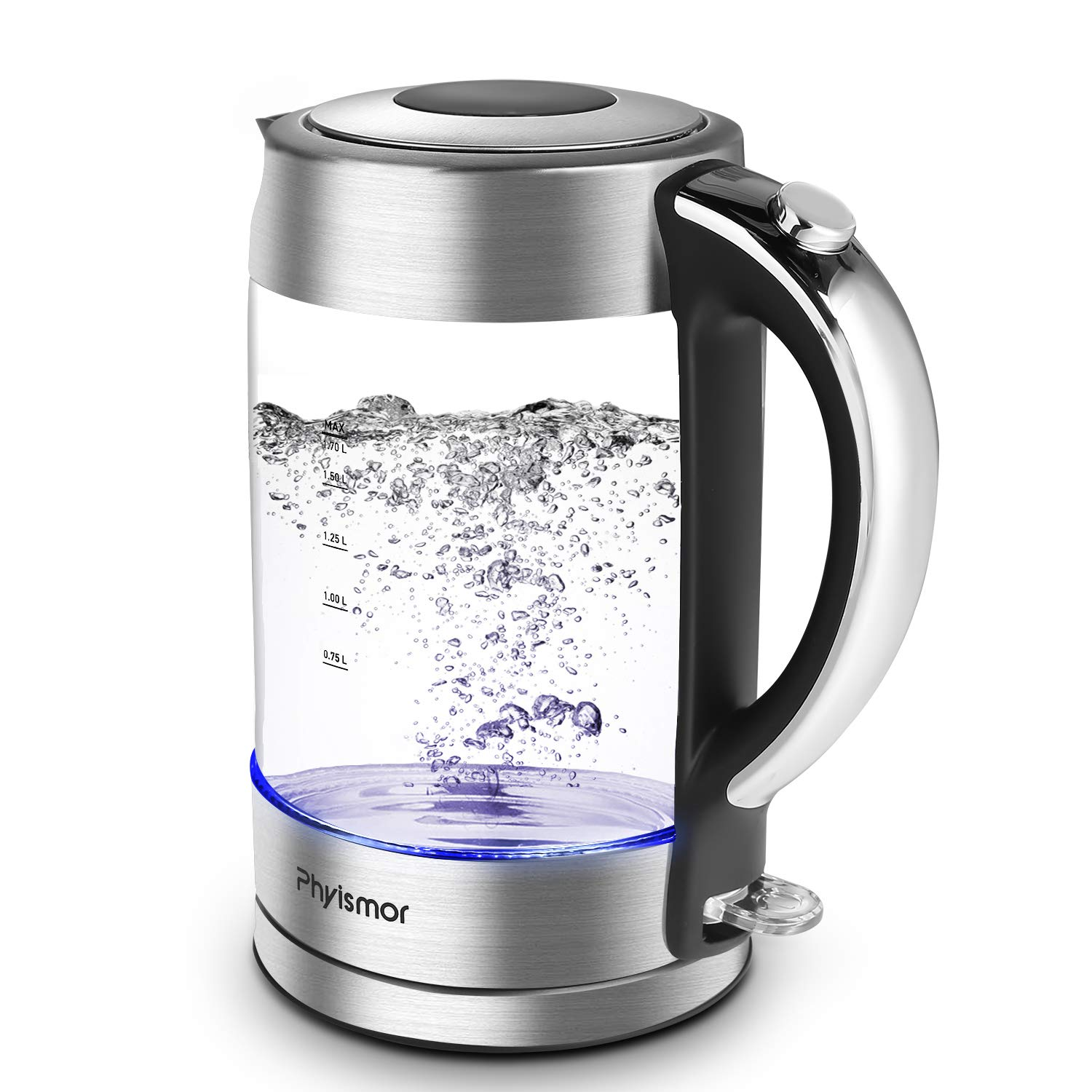 Electric Kettle, Phyismor 1.7 L Cordless BPA-Free Glass Kettle & Hot Water Boiler with Blue Led Light, Stainless Steel Finish, Auto Shut Off, Boil-Dry Protection, Borosilicate Glass, 1500W