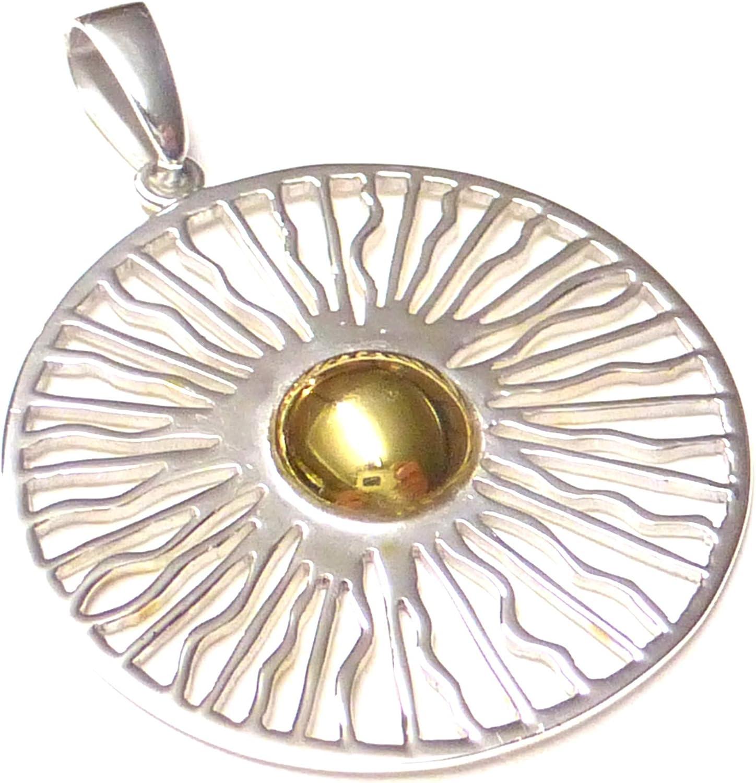 teils vergoldet aus 925/% Sterling Silber filigran gearbeitet Anh/änger Schmuck,Kettenanh/änger Motiv Sonne Schmuck Geschenk Halskette Freundschaft