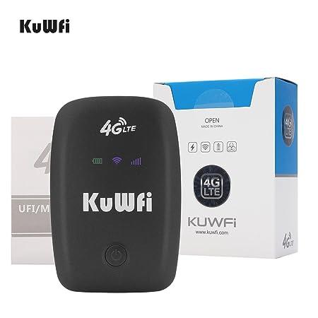 KuWFi Router Wi-Fi 4G LTE, Desbloqueado Travel Partner 150Mbps 4G LTE Router con Ranura para Tarjeta SIM Soporte LTE FDD B1 / B3 / B5 Soporte Trabajar ...