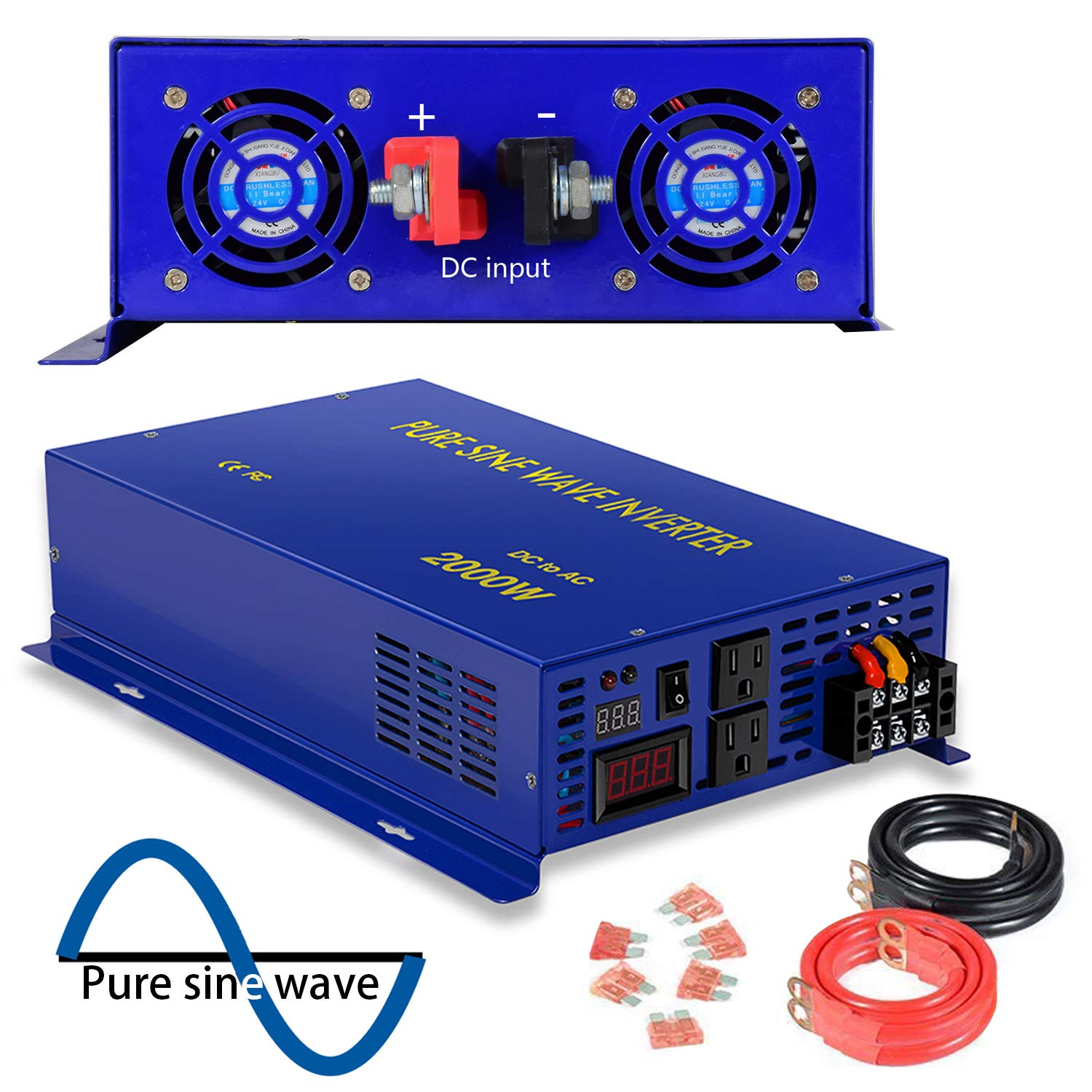 2000 Watt Pure Sine Wave Inverter 24V DC to 120V AC, 2000W Power Invert  Surge 4000W Power Converter for Solar System  (2000W 24V 120V)