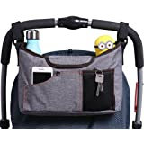 AMZNEVO Best Universal Baby Jogger Stroller Organizer Bag / Diaper Bag with Cup Holders and Shoulder Strap. Extra Storage Space for Organize the Baby Accessories and Your Phones. (GREY)