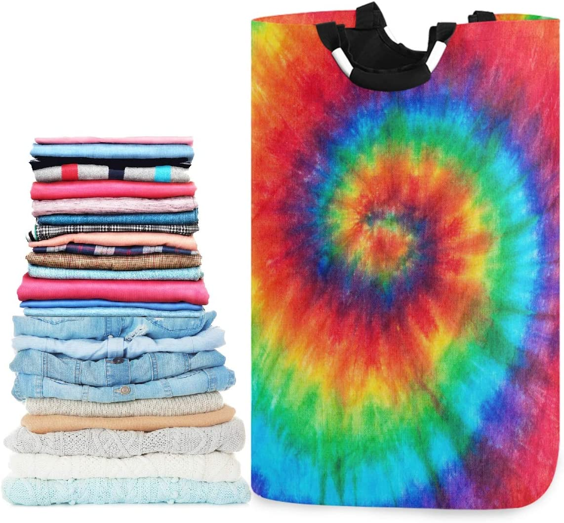 visesunny Collapsible Laundry Basket Spiral Tie Dye Large Laundry Hamper with Handle Toys and Clothing Organization for Bathroom, Bedroom, Home, Dorm, Travel